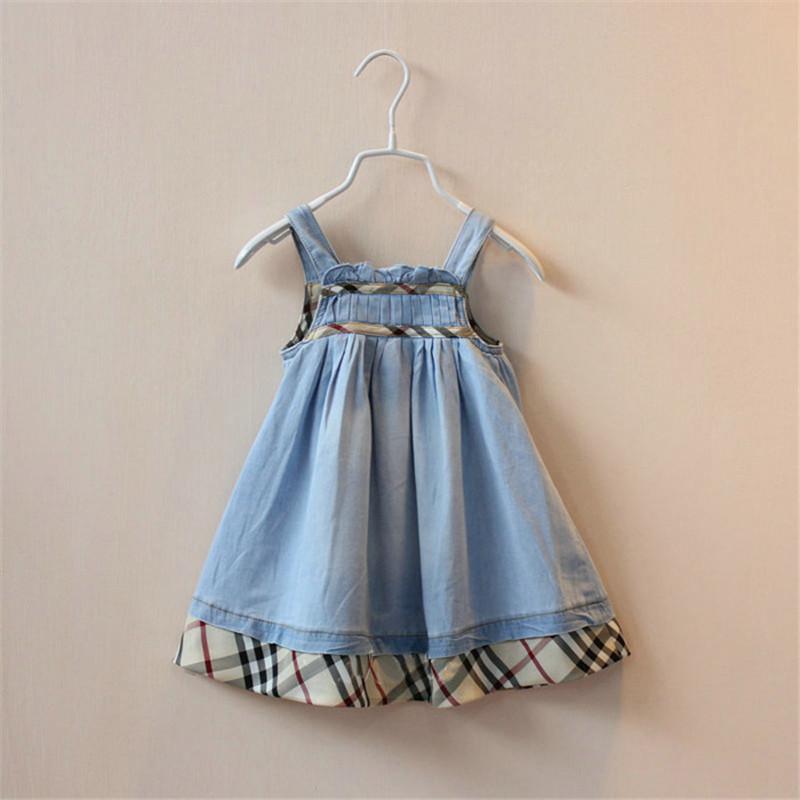 2015 Drop Ship Brand Girls Summer Denim Dress Classical Sleeveless Baby Girl Dresses Plaid Princess Dress Children's Clothing(China (Mainland))