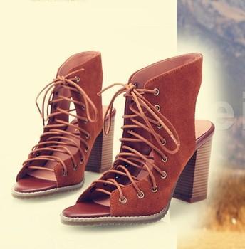 2015 мода натуральной кожи на высоком каблуке крест ремни гладиатор сандалии толстый каблук женской обуви