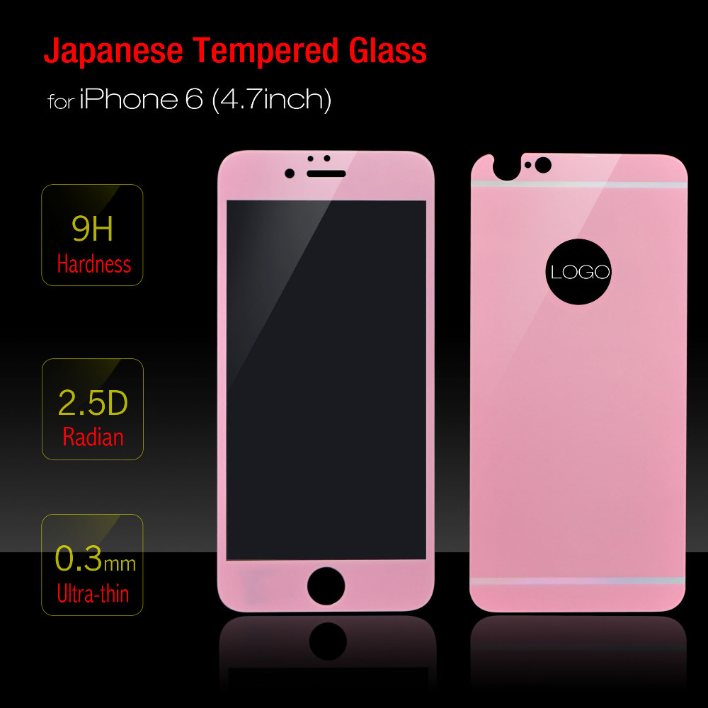 Pink Color Front Back Premium Japanese Tempered Glass Clear LCD Screen Protector For IPhone 6 4