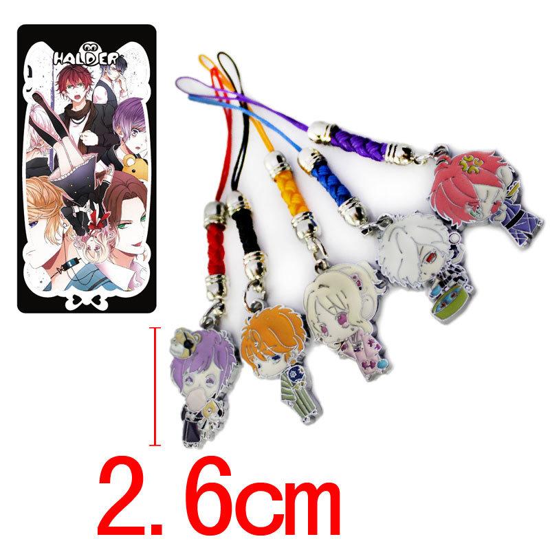 DIABOLIK LOVERS Alloy Cell Phone Strap 5pcs Set Phone Rope Pendants Phone Strap Chain Yui/Kanato Model doll toy cartoon Keychain(China (Mainland))