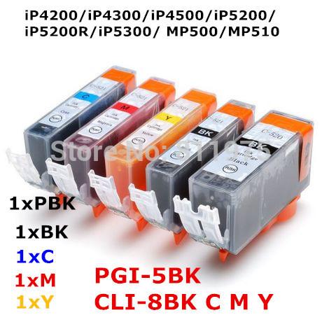 5 чернил PGI-5 CLI-8 5 цвет совместимый патрон чернил Для canon Pixma iP4200 iP4300 iP4500 iP5200 iP5300 iP5200R MP500 MP510 printer набор картриджей canon cli 8c m y из 3х цветов для pixma mp800 mp500 ip6600d ip5200 ip5200r ip4200 ix5000 700 страниц