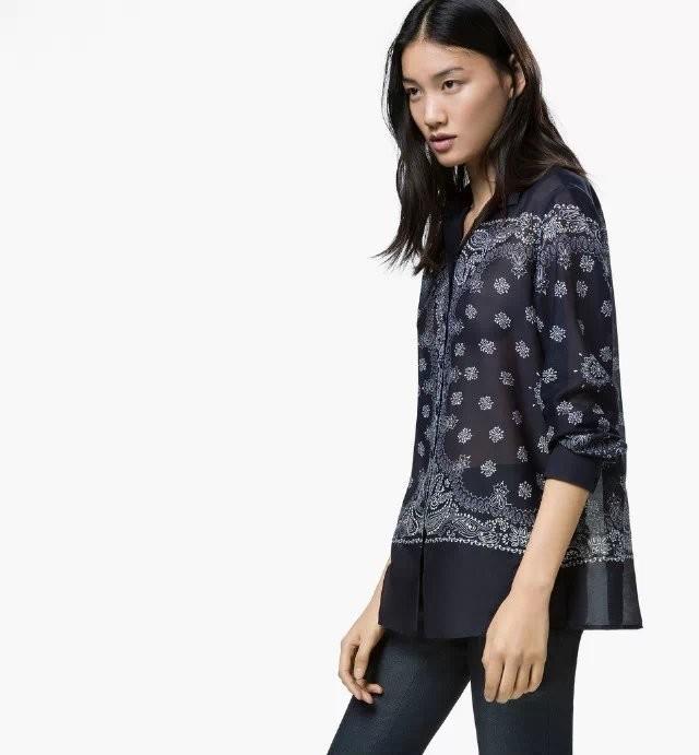 2015 Spring New Ladies Vintage Paisley Pattern Print Turn down Neck Blouse Long Sleeve Slim Shirt Casual Brand Cotton Blusa c559(China (Mainland))
