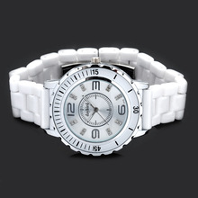 Fashion Luxury Diamond Jewelry Women Elegant Classic Ceramic Wrist Quartz Watch – Crystal- White 183810
