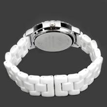 Fashion Luxury Diamond Jewelry Women Elegant Classic Ceramic Wrist Quartz Watch Crystal White 183810