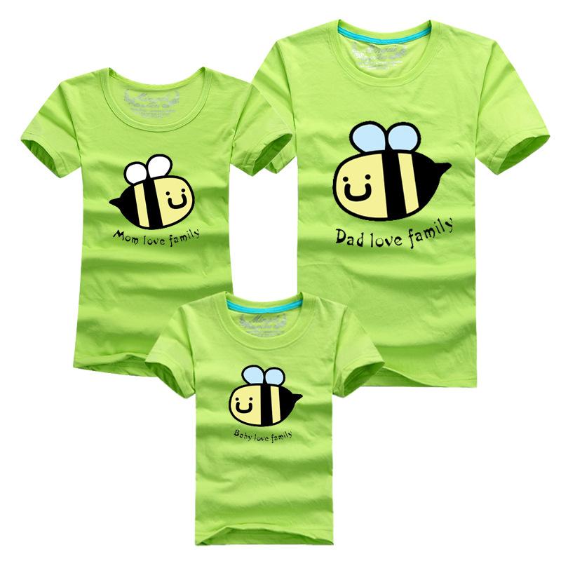 kindergarten custom made tees print factory summer family clothes kids t shirts cartoon bees boys girls clothing mqz011(China (Mainland))