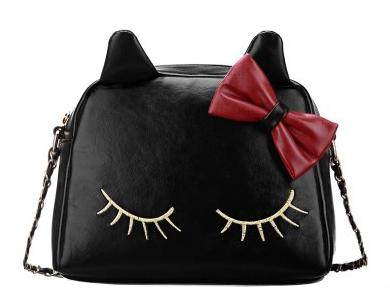 2015 new arrival Small Animal Spring Casual Cute Cartoon Bag Bow Lady Inclined Bag Shoulder Bag Black Cross Tide(China (Mainland))