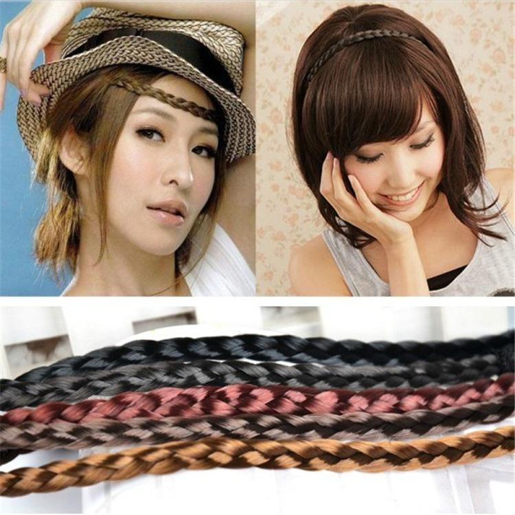 Korean pop band Hemp flowers woven elastic headband and wig wig hair pigtail Hemp flowers wholesale(China (Mainland))