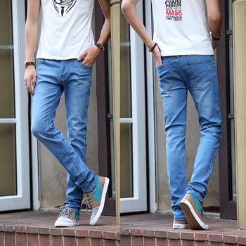 В модном мужской талии джинсы брюки ковбой синий хлопок стрейч узкие джинсы брюки розница и опт карандаш брюки
