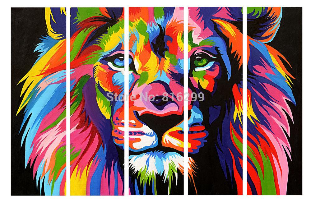 art picture color  Lion Colorful Lion Paintings