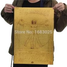 Leonardo Da Vinci Manuscripts – Vitruvian Man Nostalgic Retro Kraft Paper Posters Adornment Picture Stickers Core Man Poster