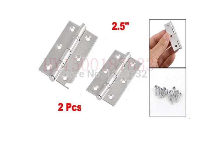 "2 Pcs Home Furniture Hardware Door Hinge Satin Nickel 2.5"" Length Silver Tone(China (Mainland))"