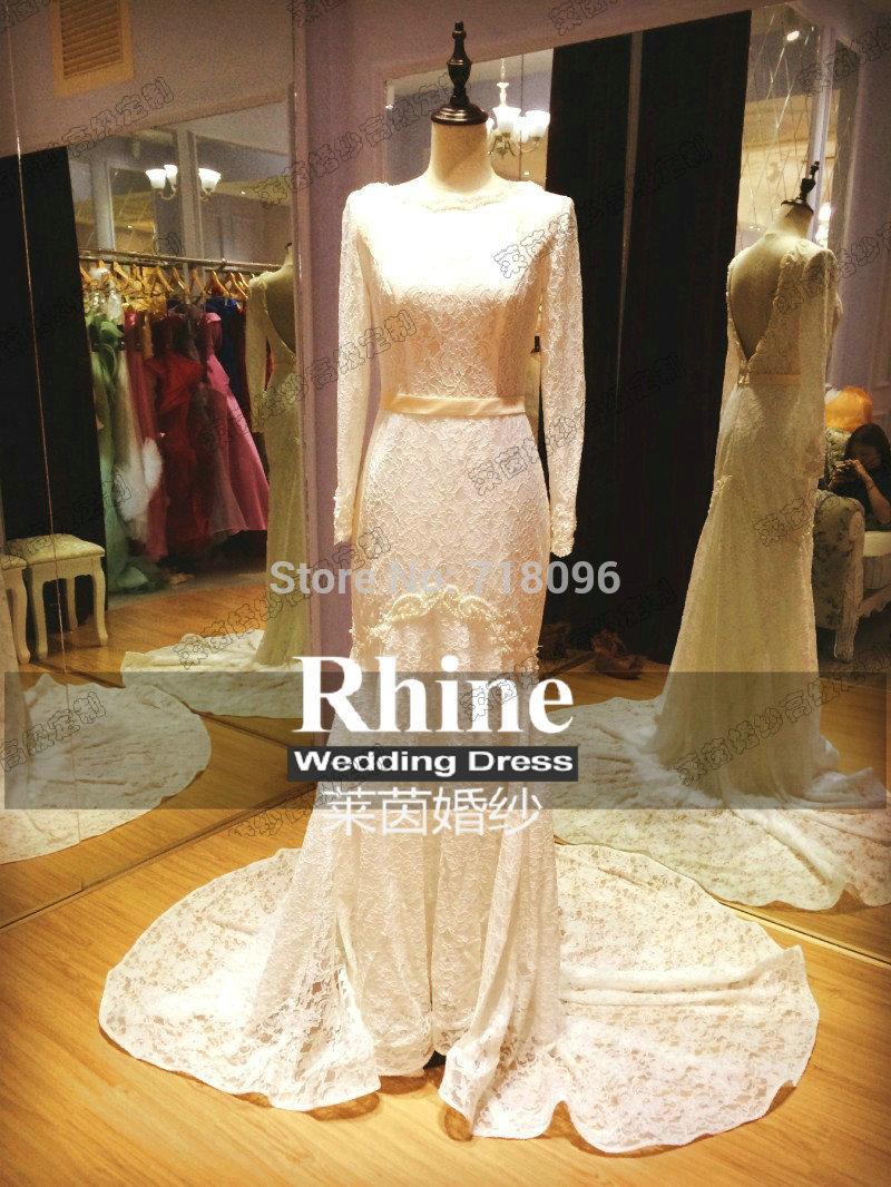 Elegant atmosphere perfect wedding dresses, handmade applique adornment, and tail(China (Mainland))