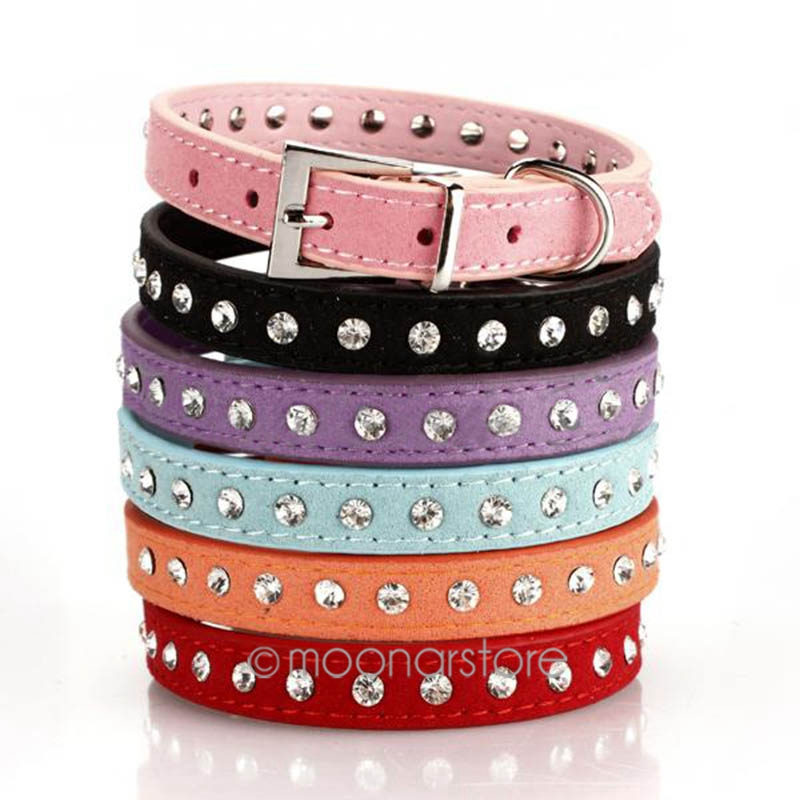 1 Pcs High Quality Personalized PU Leather Bling Rhinestone Dog Collars Pet Products XS/S/M JL*YYMHM469*50(China (Mainland))