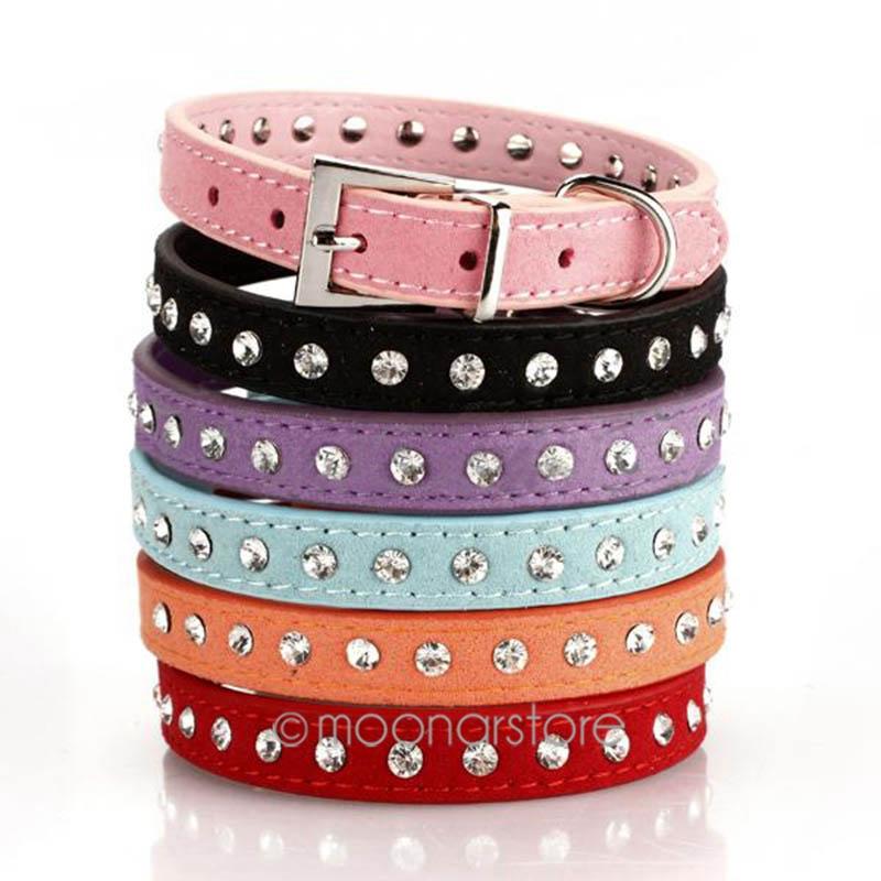 1 Pcs High Quality Personalized PU Leather Bling Rhinestone Dog Collars Pet Products XS/S/M JL*YYMHM469*50(China (Mainland))