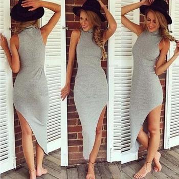 Feitong новинка женщины летнее платье сексуальный износ клуба с высоким воротником без рукавов мода нерегулярные длиной макси платье бесплатная доставка