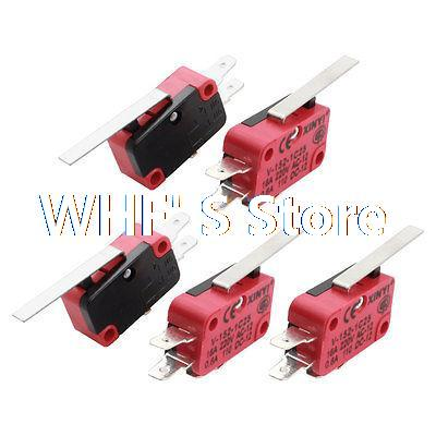 5 Pcs AC 220V 16A SPDT 3Pin Momentary Long Straight Hinge Lever Micro Switch(China (Mainland))
