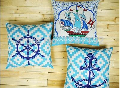 Estilo mediterrâneo verão frio sea marine sofá do escritório travesseiro fronha de algodão marinheiro com cadeira 45 X 45 CM(China (Mainland))