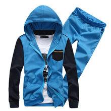 Fashion 2015 Men Casual Patchwort Men Sportswear Hoody Sport Sweatshirt hip hop Hoodies Design Outwear Sport Sets(coat+pants)(China (Mainland))