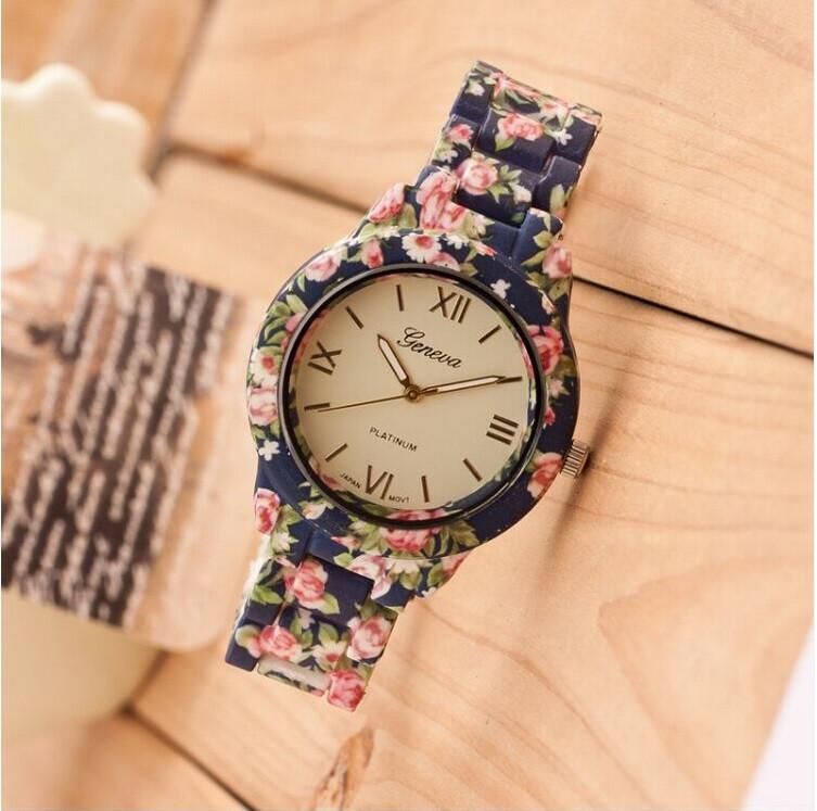 Цветочный узор пластик лента женщины наручные часы кварцевый женщины платье часы свободного покроя часы Relogio часы