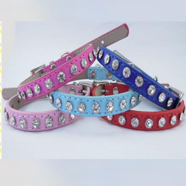 Resale Carts Online Store Korean Pet Accessorry Diamond Rhinestone PU Leather Small Doggies Collar Pink Cat Collars Cheap S/M(China (Mainland))