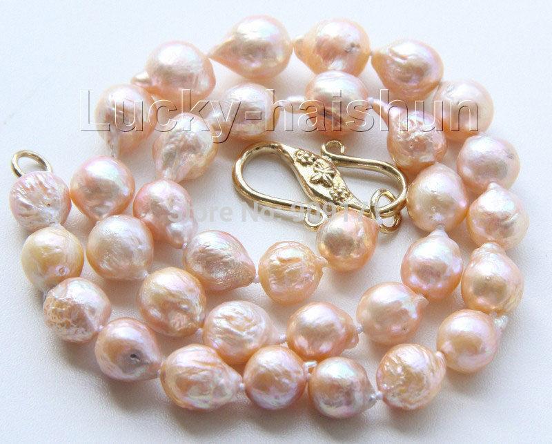"Free Shipping>>17"" 11mm baroque pink Reborn keshi pearls necklace(China (Mainland))"