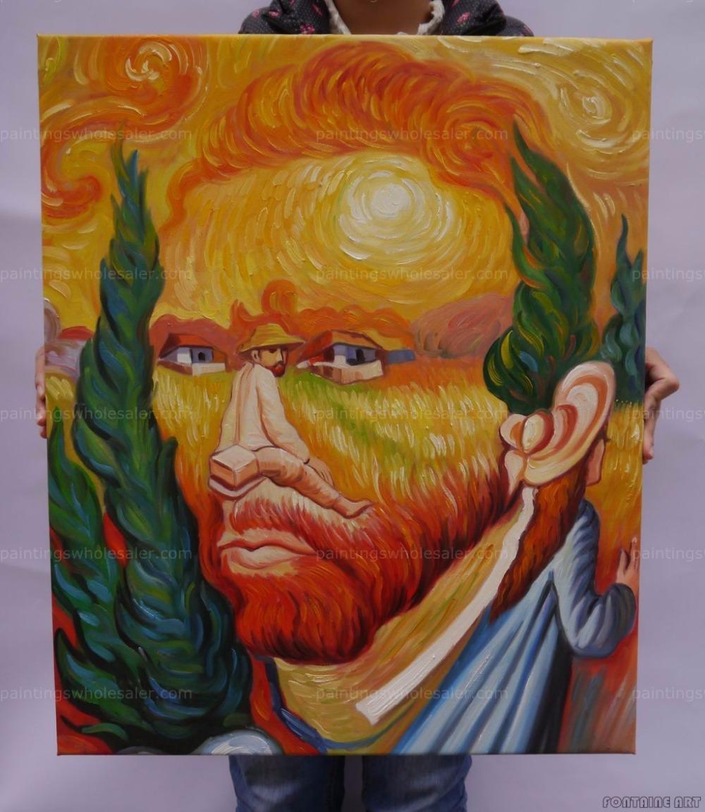 100%handmade Famous Oleg Shuplyak,Van Gogh Surrealism oil painting on canvas Framed art,freeshipping(Hong Kong)