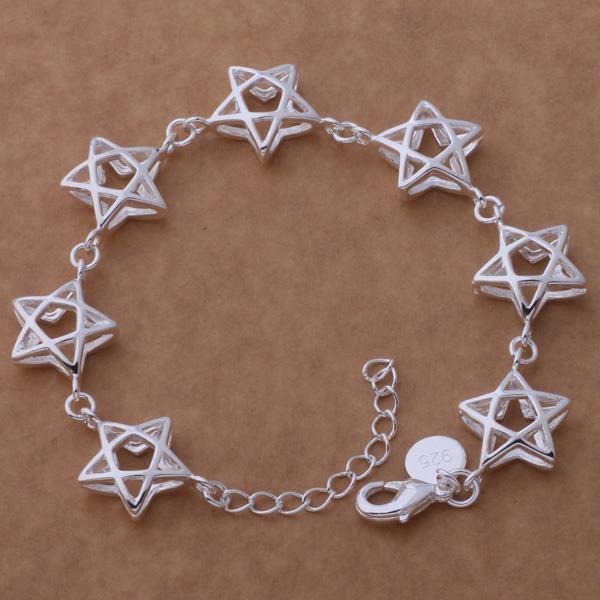 Beautiful fashion 925 sterling silver charm Bracelet Gorgeous jewelry All big five-pointed star /dkwamcda briakipa AH161(China (Mainland))