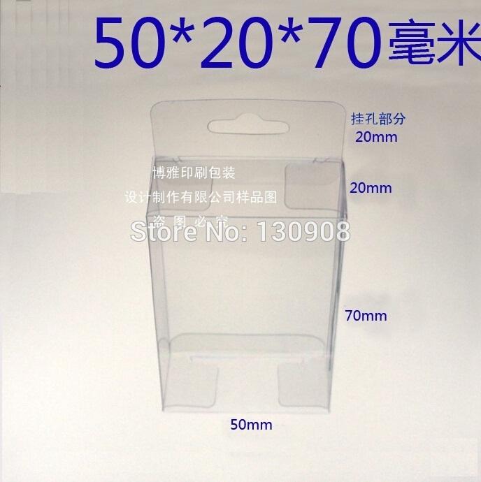 2*5*7cm Free Shipping hang hole PVC boxes wholesale packing plastic packing box(China (Mainland))