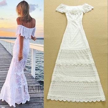 Потрясающие! европейский высокое качество высококачественная одежда женская мило слэш воротник с плеча вышивка вырез праздничное платье