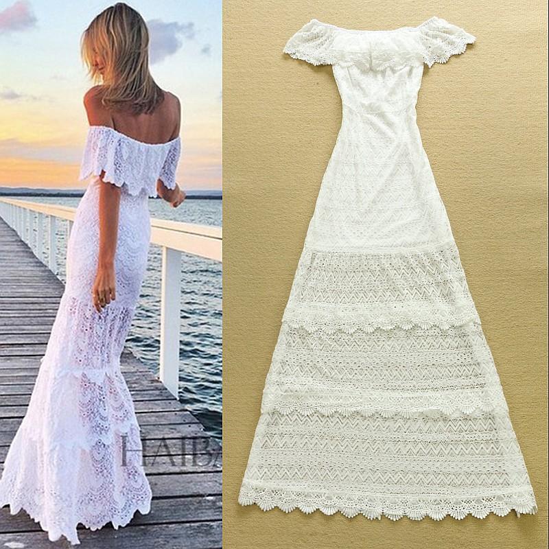 белые длинные платья на лето