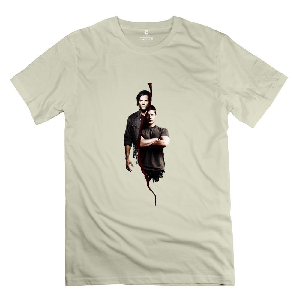 new brand Supernatural Sam E Dean t shirts street o neck guys Nerdy t-shirt for men(China (Mainland))