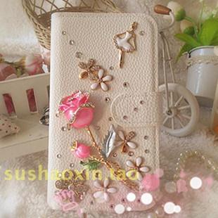 Case 2015 Fashion Wholesale Custom Love roses paragraph Rhinestone case(China (Mainland))