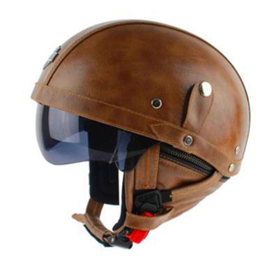 Retro Vintage WWII Style DOT Black/brown Leather German Motorcycle Hlaf/ Halley Helmet& Visor & Goggles & Scarf Size:55-63CM(China (Mainland))