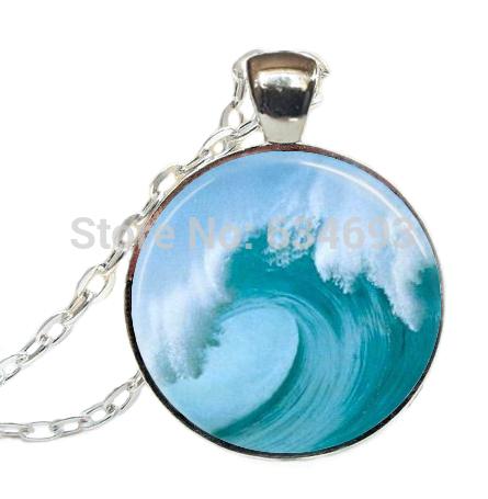 Tidal Wave Necklace Tsunami Ocean Surfer Jewelry Nautical Art Pendant Glass cabochon Necklace(China (Mainland))