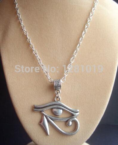 2015HotSell!New Fashion Alloy Antique Silver Large Egyptian  Amulet Eye of Horus Eye of Ra Wedjat   Pendant Necklace 10Pcs/lot (China (Mainland))