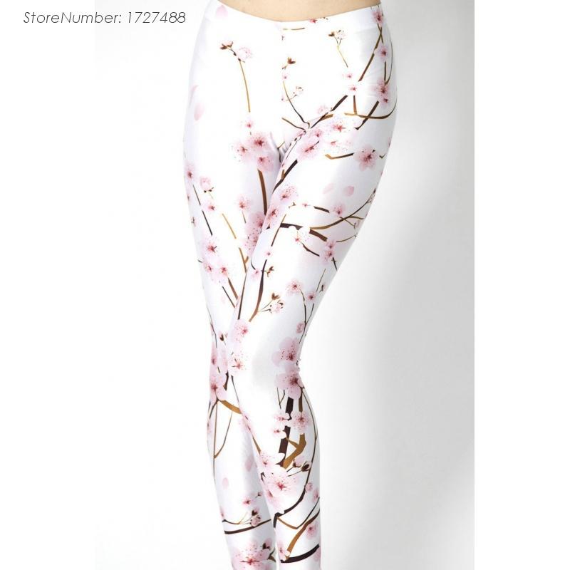 2015 Fashionable Women White Cherry Digital Printing Leggings Cheap Wholesale(China (Mainland))