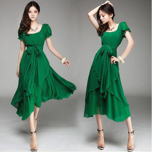 Feitong New Arrival Summer Women Chiffon Vintage Long Irregular Evening Party Long Dress Tops Free Shipping&Whloesale(China (Mainland))