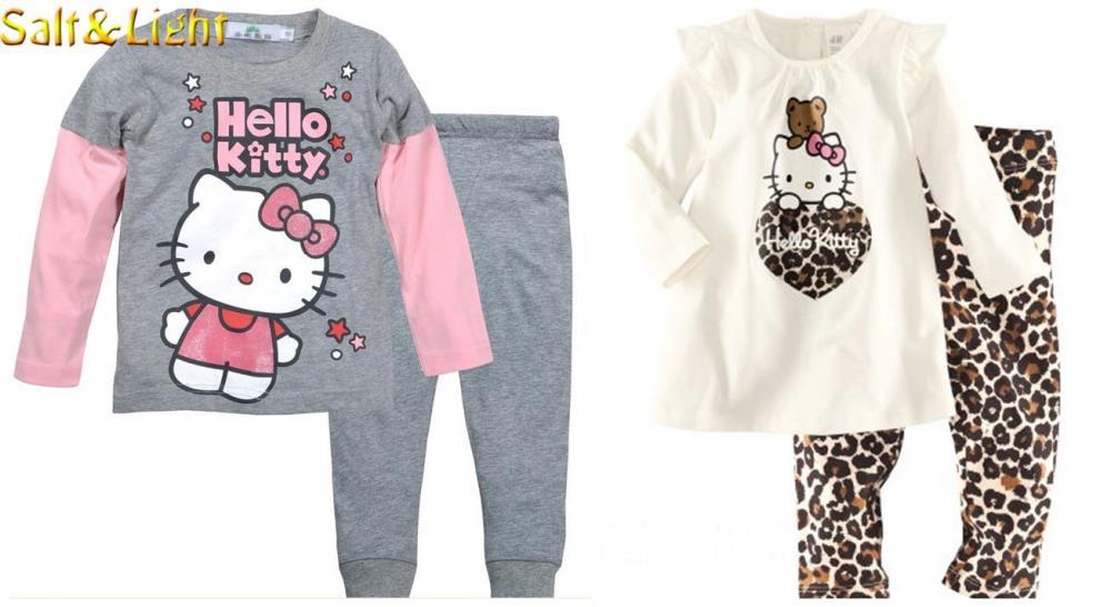 hello kitty clothes conjuntos girls set full t shirts+long pants kids clothing children vestidos Leopard cartoon cat suits 2015(China (Mainland))