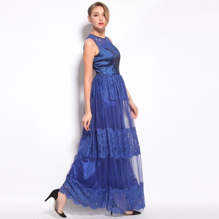 Summer Dress 2015 New Arrival Fashion Apparel Original Design High Quality Women's Lace Long Dress(China (Mainland))