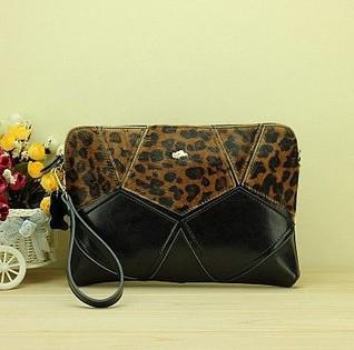 Genuine leatrher horse hair leopard pattern zebra pattern wallet purse clutch for girls(China (Mainland))