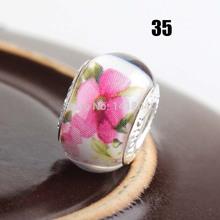 30PCS 925 silver cord Big Hole Resin Flat Round Charm Beads fit European Pandora Jewelry Braclet