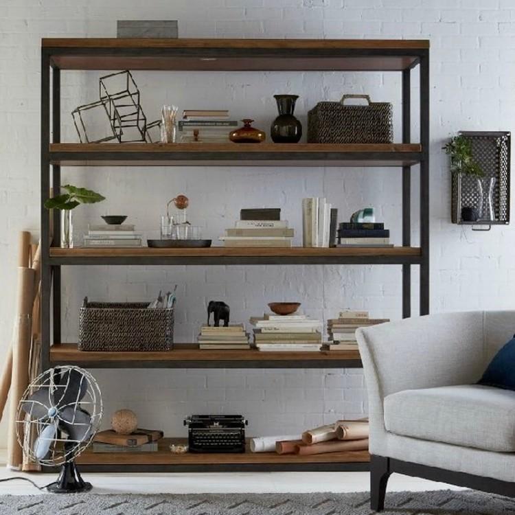 Boekenkast Metaal Hout: Betaalbare luxe boekenkasten industrieel ...