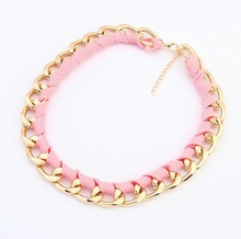 4 Color Selector 18K gold plated chain alloy ribbon chunky necklace for women 2015 Fashion Jewelry