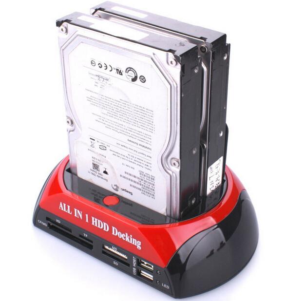 "All in 1 2.5"" 3.5"" Dual USB 2.0 SATA IDE Dock HDD Docking Station Hub Card Reader OTG External Storage Enclosure Free Shipping(China (Mainland))"