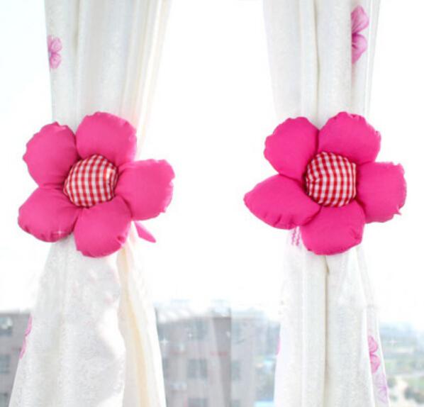 Creative cute sunflowers curtain buckle straps tying curtains Bandage X2PCS(China (Mainland))