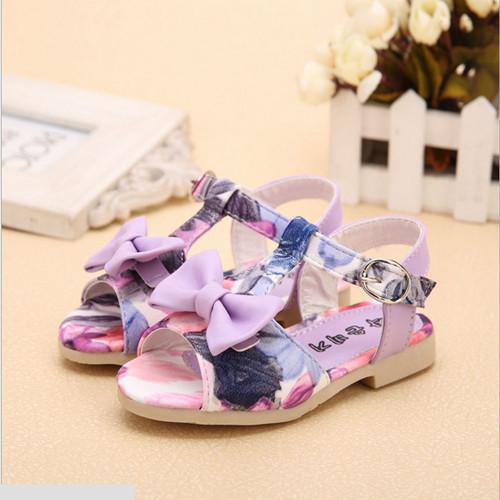 Прекрасные пляжи отпуск дети обувь пряжка цветок галстук-бабочка девочки сандалии # 1935