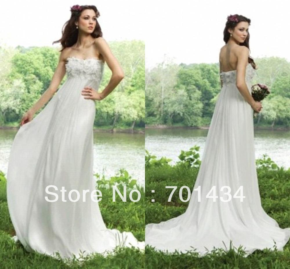 2014 Beach Wedding Dress China Supplier Flowers Sweetheart A Line Chiffon Trailing Latest Bridal Gown(China (Mainland))
