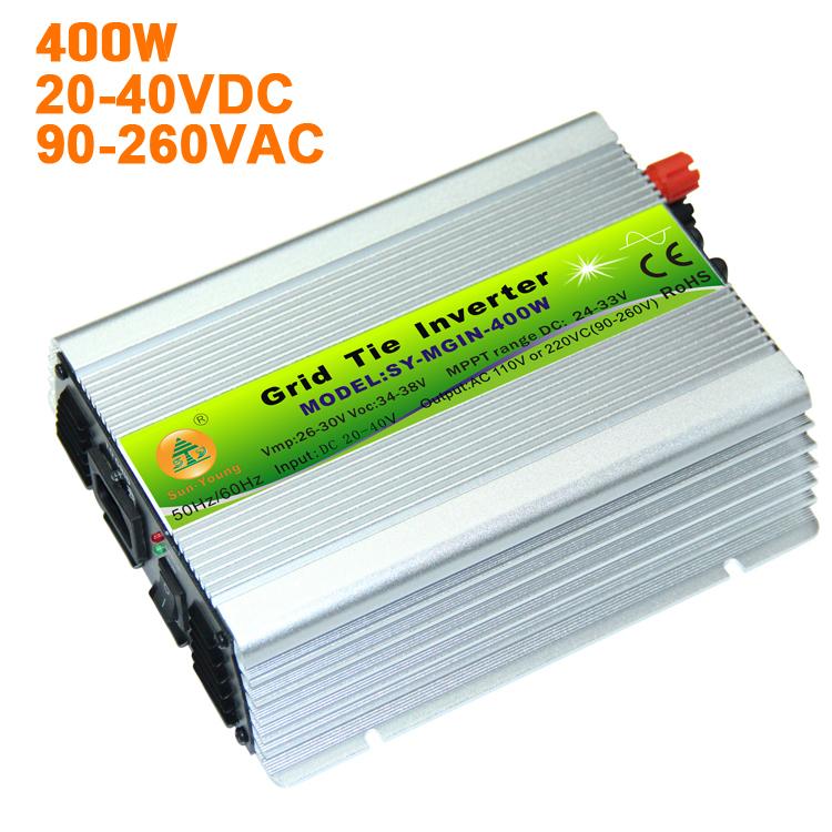 400W Power Jack PV Solar Grid Tie Inverter 24V Solar Panel System 20-40V DC 110V 220V AC(China (Mainland))