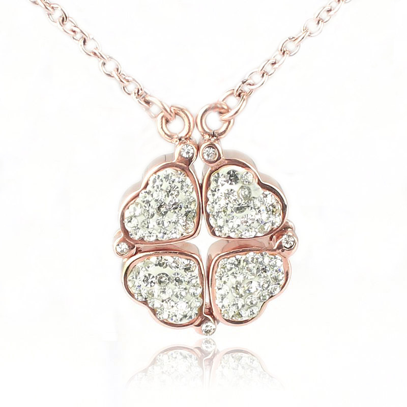 gold/rose plated 4 heart in 1 to be clover necklace(China (Mainland))