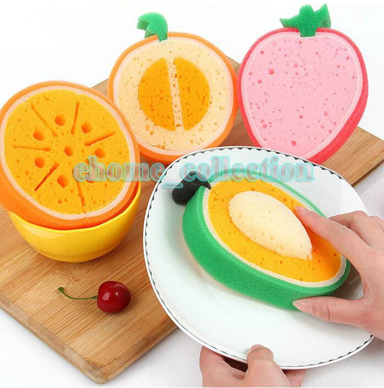 Fruit Series Strawberry Cantaloupe Mango Orange Style Thickening Kitchen Dish Bowl Cleaning Washing Scouring Pad Sponge Scourer(China (Mainland))